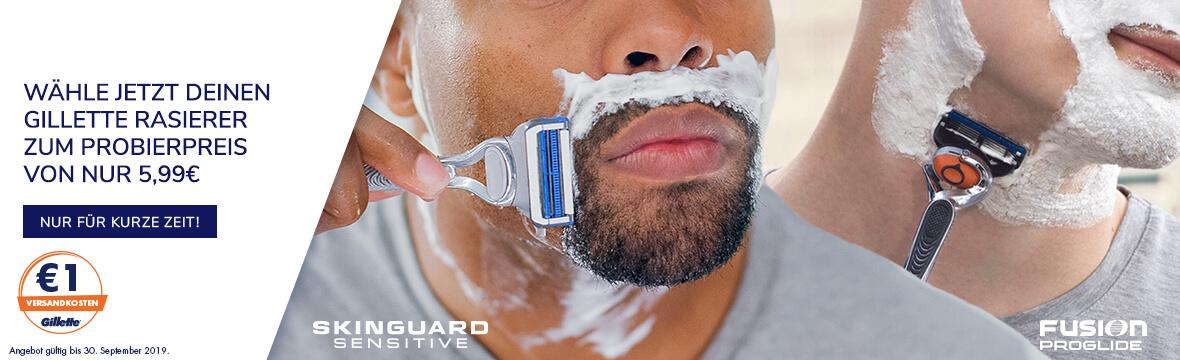 Wähle jetzt Deinen Gillette Rasierer zum Probierpreis von nur 5,99€. Nur für kurze Zeit!