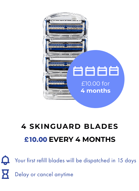4 SKINGUARD BLADES. £10 EVERY 4 MONTHS