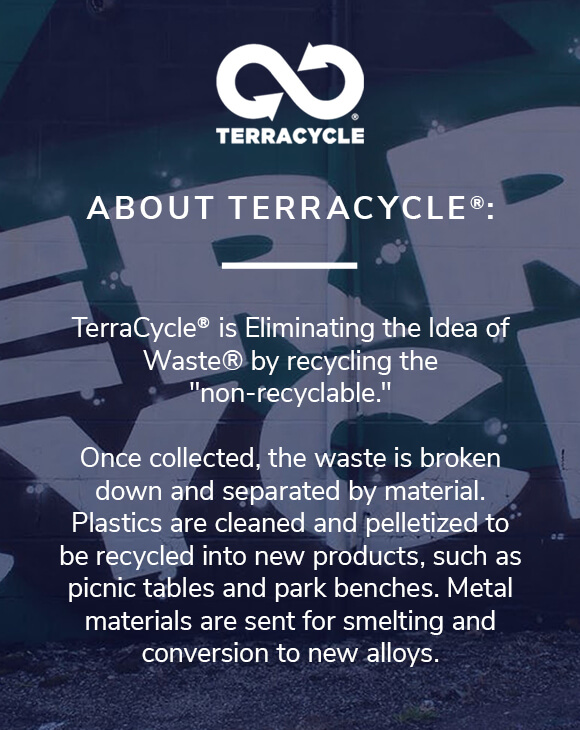 Once collected, the waste is broken down and separated by material. Plastics are cleaned and pelletized to be recycled into new products such as picnic tables and park benches. Metal materials are sent for smelting and conversion to new alloys.