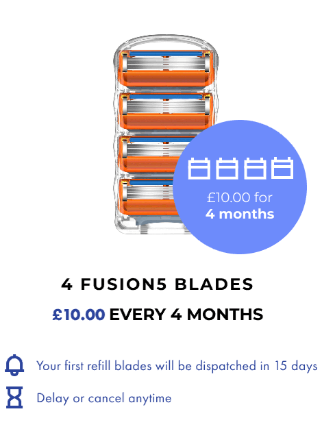 4 FUSION5 BLADES. £10 EVERY 4 MONTHS.