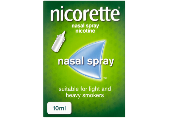 NICORETTE® Nasal Spray. Controlled amounts of nicotine absorb rapidly through your nose into your bloodstream, providing quick relief of your cigarette cravings and nicotine withdrawal symptoms.