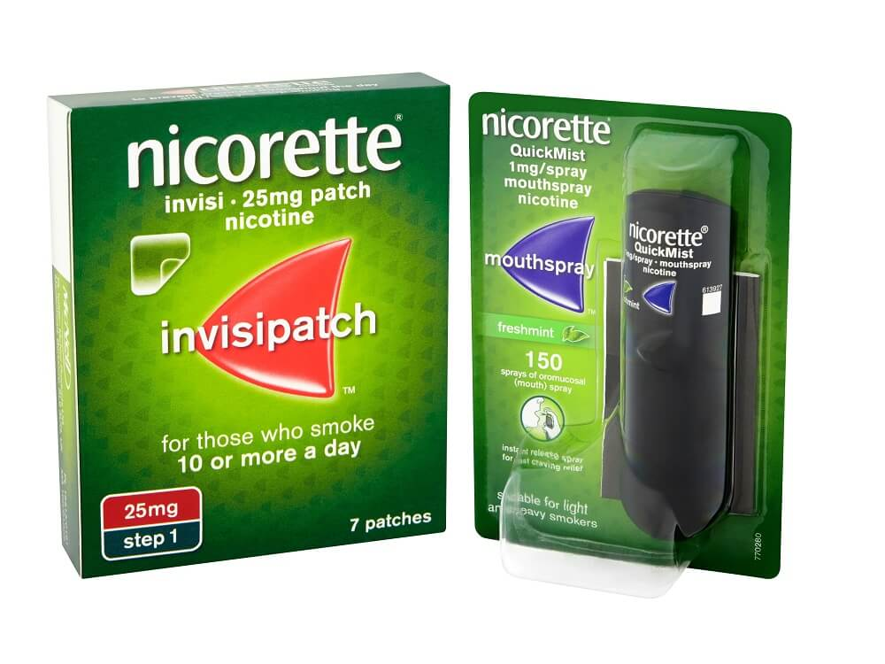 NICORETTE® InvisiPatch  + NICORETTE® QuickMist  Mouthspray  £87.95 per month*