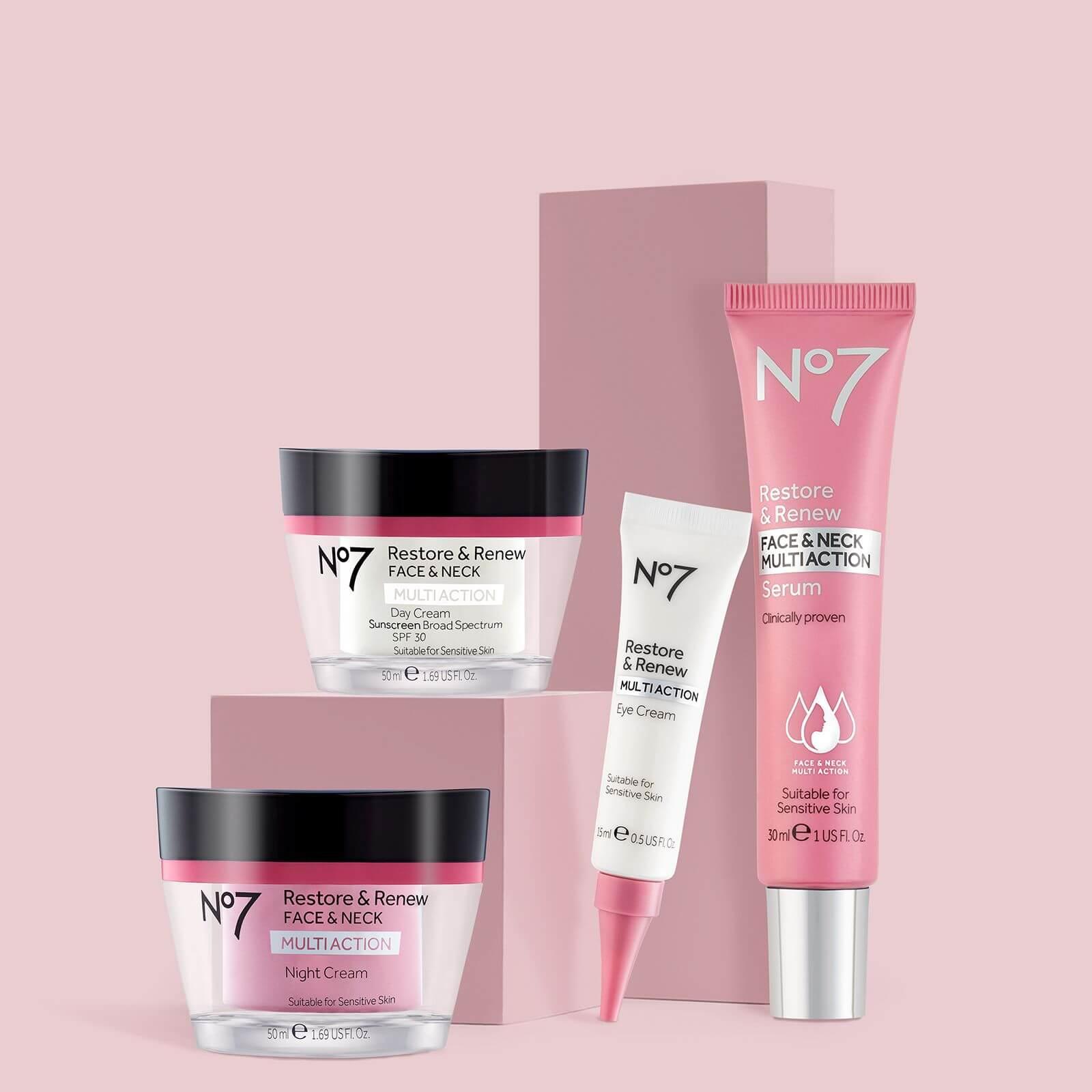 No.7 Restore & Renew Range: Serum, Eye Cream, Night Cream and Day Cream