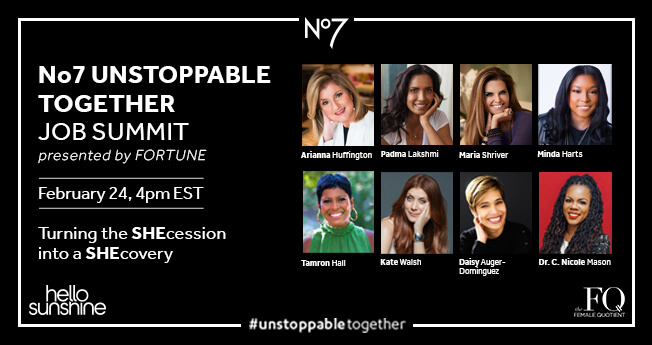 8 of the unstoppable together job summit speakers. February 24, 4pm EST, presented by fortune.