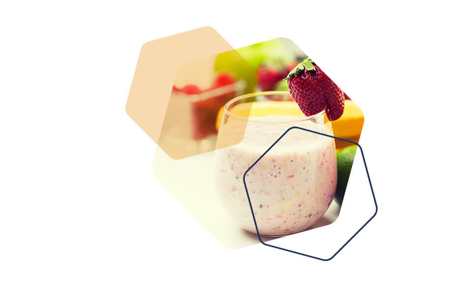Image of a healthy meal replacement shake with a strawberry