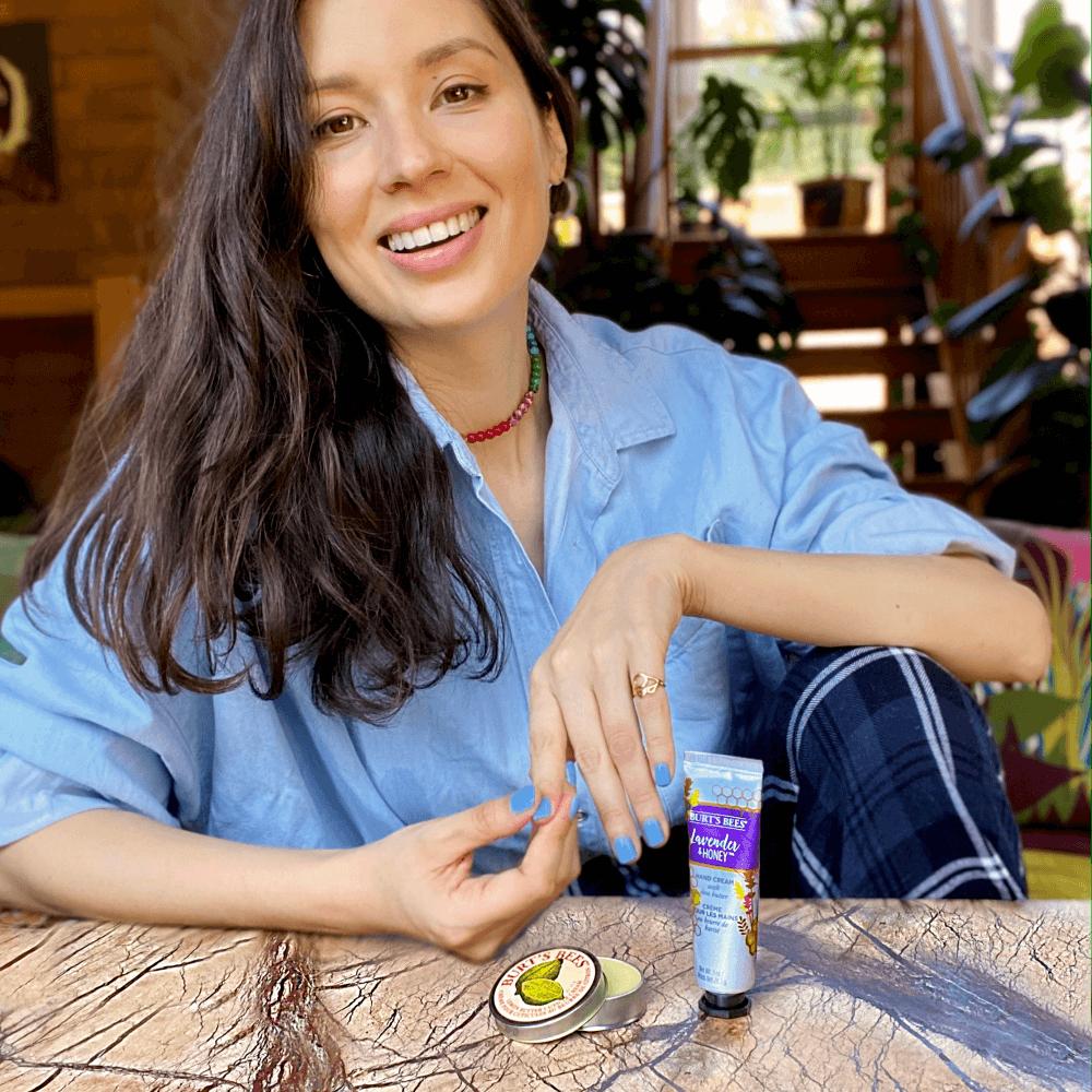 Jasmine Hemsley with Burt's Bees Lavender Hand Cream & Cuticle Cream