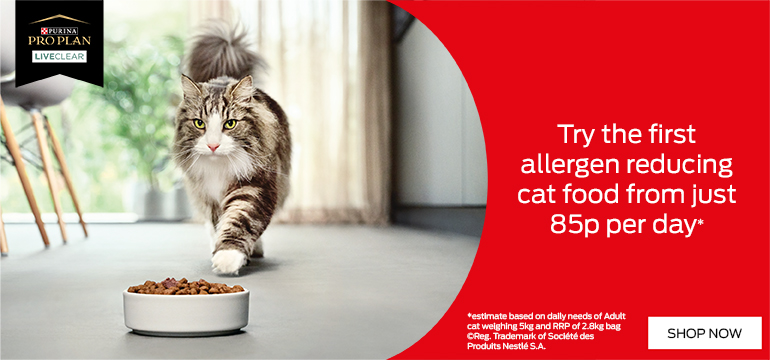 Purina Pro Plan Liveclear. Try the first allergen reducing cat food from just 85p per day* Shop Now.