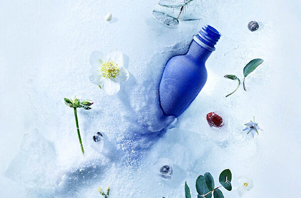 Iconic neals yard bottles in snow