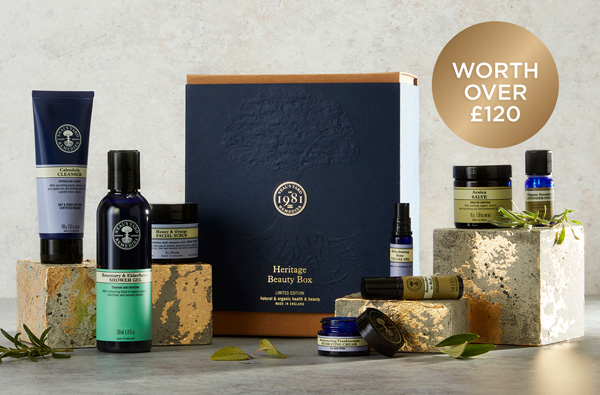 Celebrating 40 years, Leading the way in natural & organic health & beauty. Our Heritage Beauty Box  £25 when you spend £60. Pre-order now