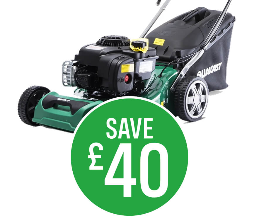 Save £40 on Qualcast 41cm Petrol Self Propelled Lawn Mower 300E