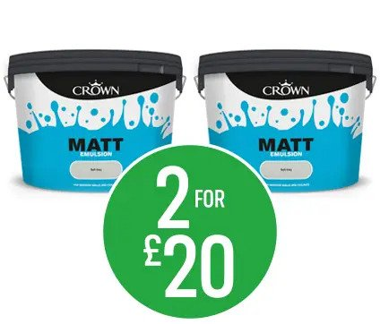 Get 2 for £20 on Crown Matt Emulsion Paint - Pure Brilliant White, Magonalia or Soft Grey