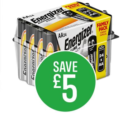 Save £5 on Energizer Alkaline Power Batteries 24 Pack