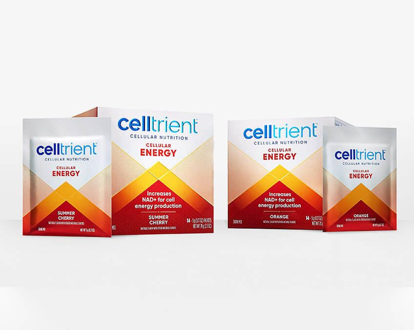 Celltrient Energy nicotinamide riboside supplements cherry and orange flavor
