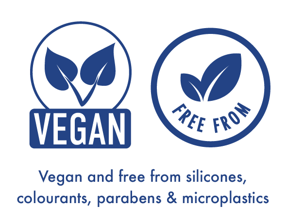 Vegan and free form silicones, colourants parabens and microplastic