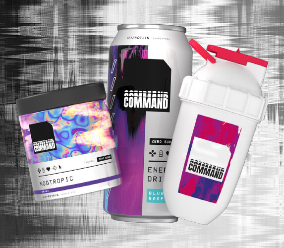 Command nootropic tub, energy drink, and shaker