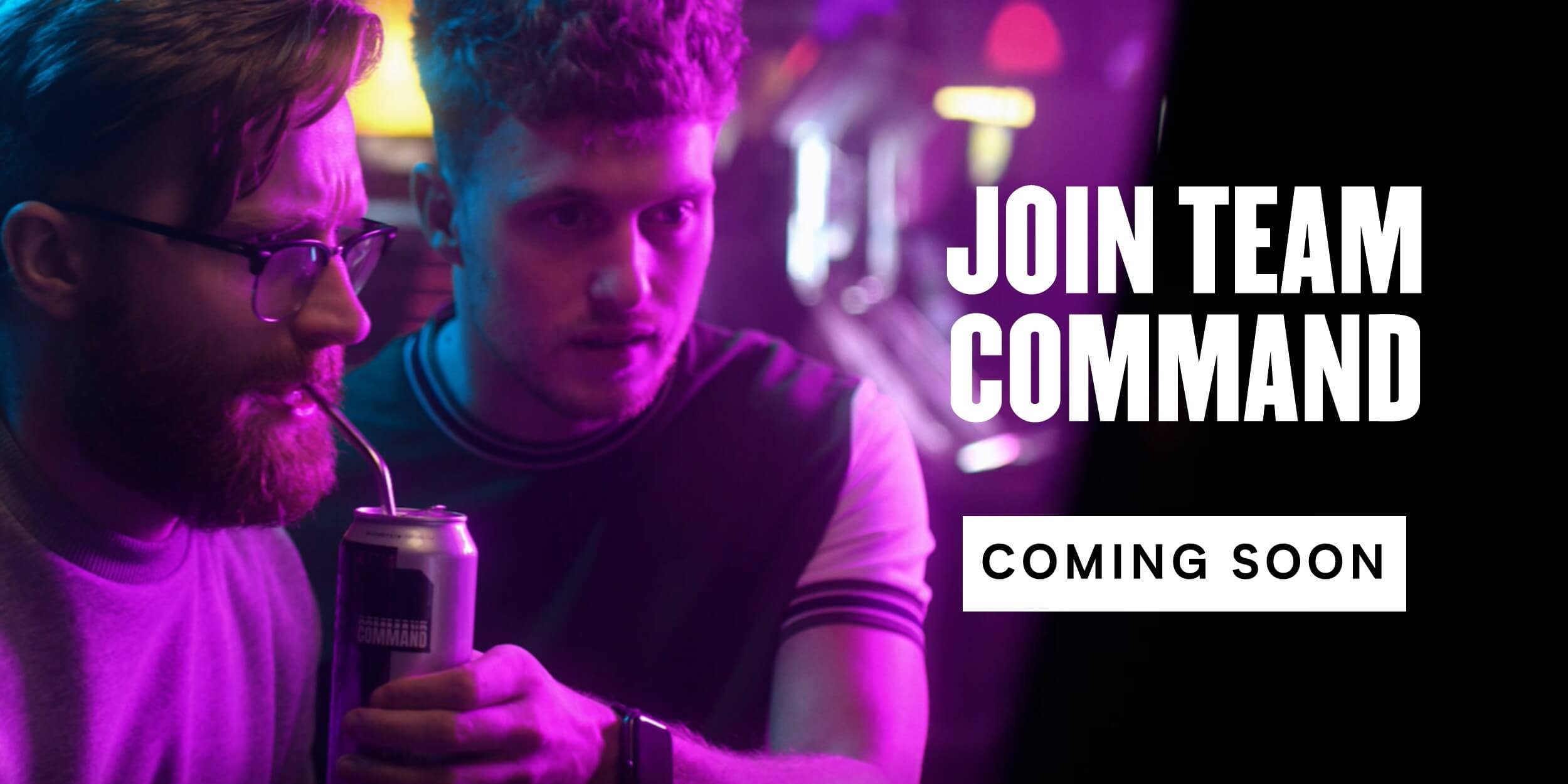 Join team Command affiliates programme banner with gamers playing in arcade