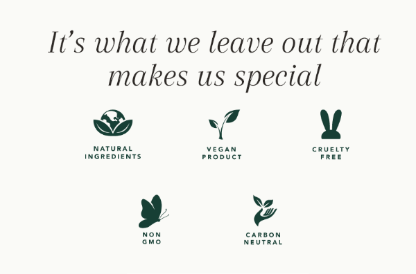 It's what we leave out that makes us special. Image of Natural ingredients logo, vegan products logo, cruelty free logo, non gmo logo and carbon neutral logo.
