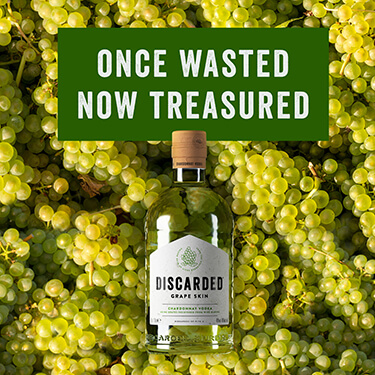 Once wasted, now treasured. Discarded grape skin chardonnay vodka