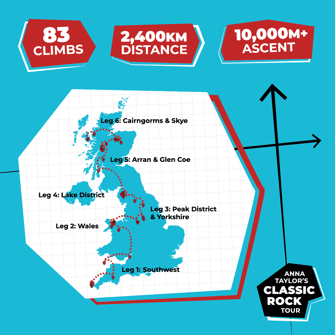 Map of the UK showing each leg of the tour Anna will be stopping at.