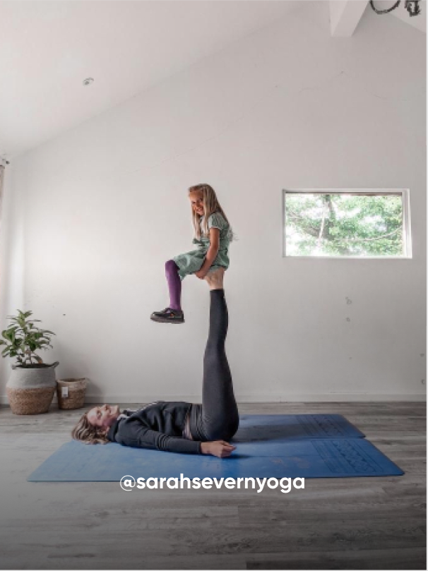 mom and daughter posting in a yoga position - Visit Kickers Kids Instagram