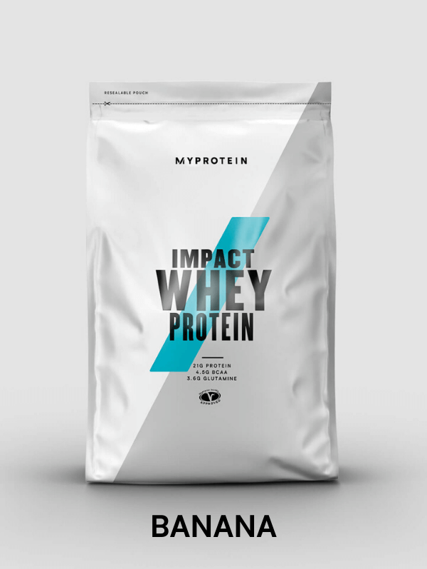 Impact Whey Protein banana flavour 19g of protein per serving