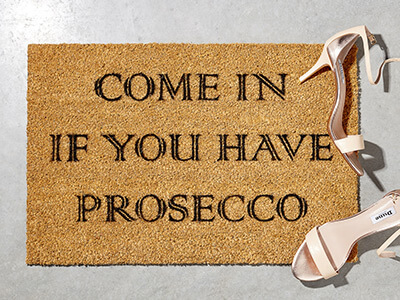 Prosecco Doormat & T-Shirt Only £17.99
