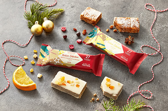 exante festive range including Stollen bar & White Chocolate Orange Bar