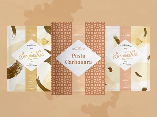 Frullato al tiramisù a basso contenuto di zuccheri, Frullato alla Stracciatella a basso contenuto di zuccheri e Pasta alla Carbonara Sostitutivo del Pasto