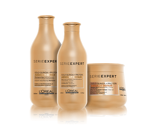 Reduce surface damages by 77*, nourish and hydrate dry and damaged hair with Absolut Repair Gold, the professional range for damaged hair by Serie Expert. *instrumental test: Shampoo and instant resurfacing mask after 5 applications.