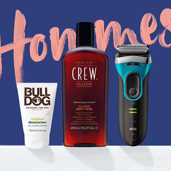 Des produits de rasage aux parfums en passant par les soins de la peau. Avec des marques populaires telles que <b>Clinique, Bulldog</b> et <b>American Crew</b>.