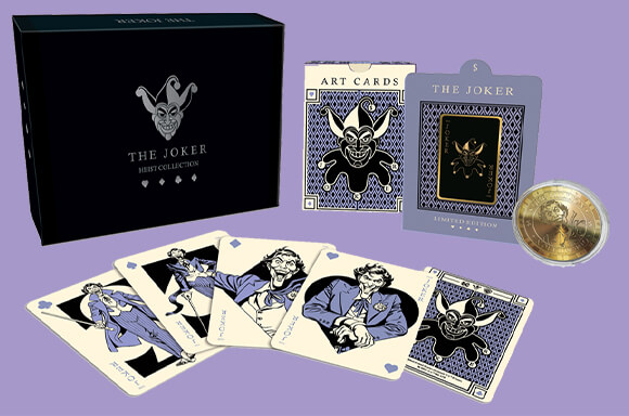 THE JOKER <br>COLLECTABLE PIN BADGE, COIN & ART CARD