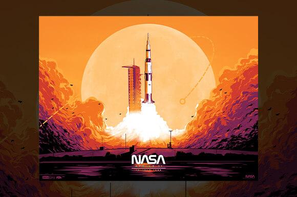 Vibrant Apollo 11 Launch Screen Print