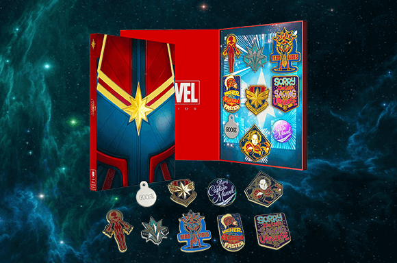 CAPTAIN MARVEL PIN BADGE SET + FREE DELIVERY