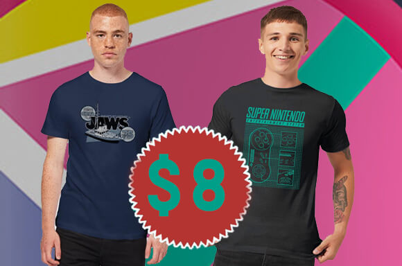 SELECTED T-SHIRTS ONLY $8 USD