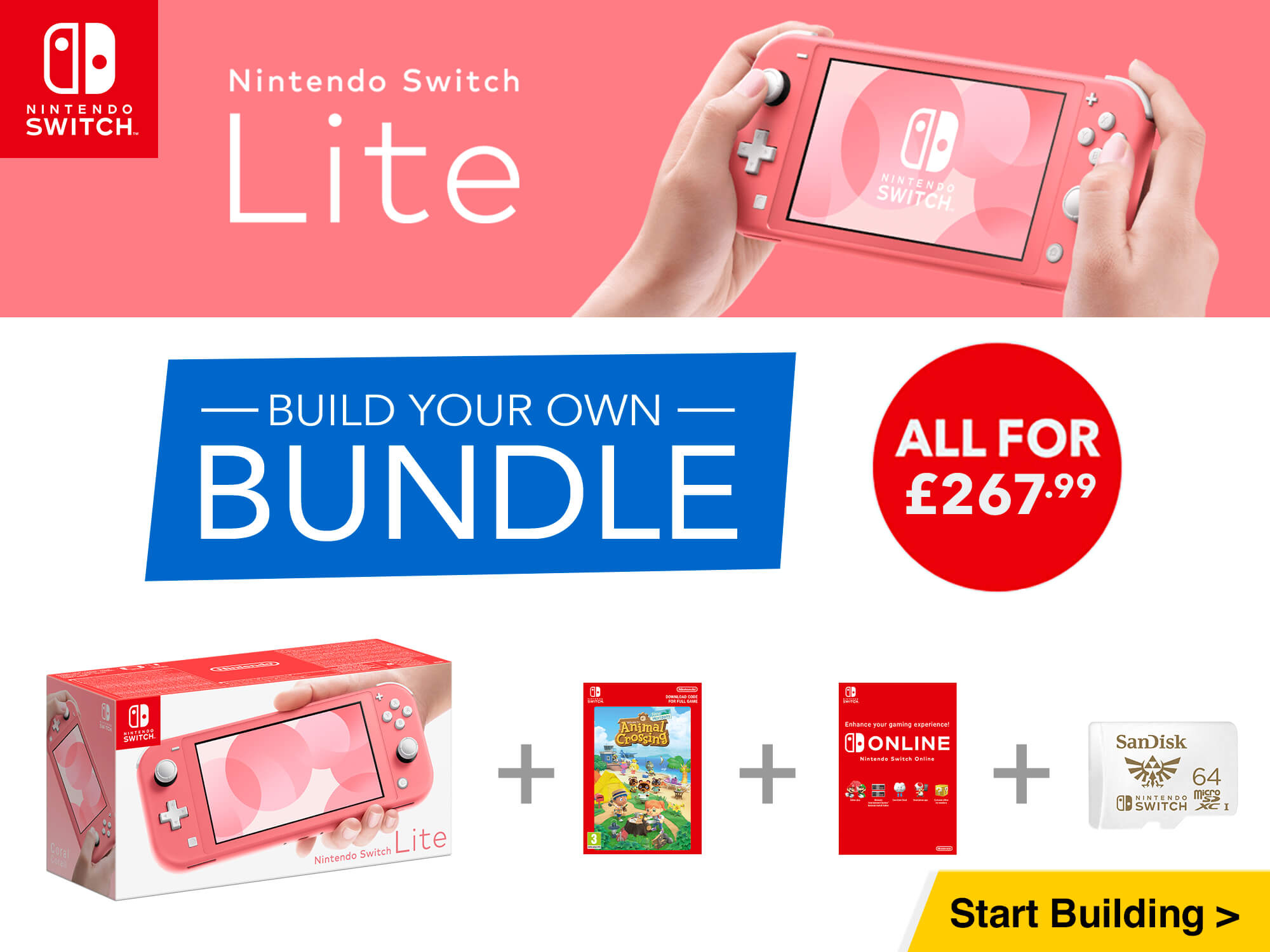 Build your own Nintendo Switch Lite bundle for only £267.99 - Console + Game + Nintendo Switch Online + Accessory