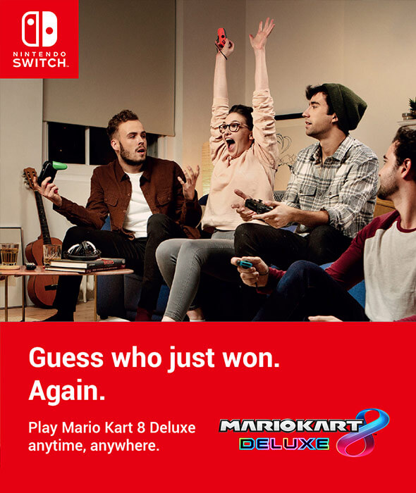 Guess who just won. Again. Play Mario Kart 8 Deluxe anytime, anywhere on Nintendo Switch.